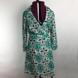 Aryeh Teal & Black Wrap Dress Sz Small